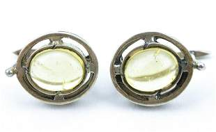 Pair Sterling Silver & Citrine Cabochon Earrings