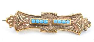 Antique 19th C Gold & Turquoise Brooch