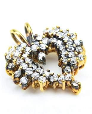 Vermeil Sterling Silver Heart Necklace Pendant