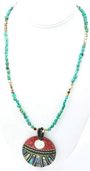 Handmade Necklace W Turquoise Coral & Abalone