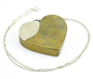 Vintage Sterling Silver & Brass Heart Necklace