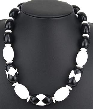 Vintage Black & White Acrylic Necklace