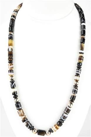Estate Sterling & Banded Black Agate Necklace