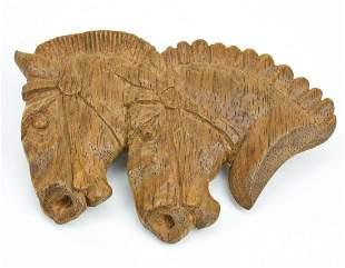 Vintage Folk Art Carved Wood Horse Brooch