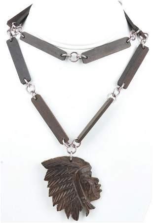 Vintage Folk Art Native American Chief Necklace