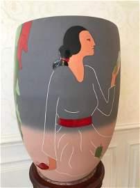 R C Gorman Impressive Large Scale Art Pottery Vase