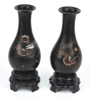 Pair of Antique Chinese Lacquer Dragon Vases