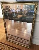 Antique Trumeau Form Mirror w Mythological Scene