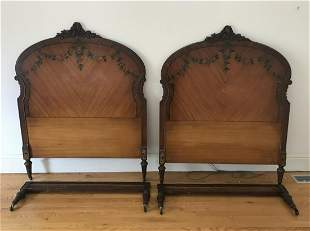 Pair of Antique Hand Painted Twin Bed Frames