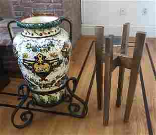 Antique Hand Painted Pottery Vase on Wrought Iron