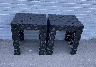 Asian Style Carved & Pierced End Tables