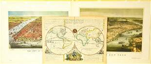 Antique Map Lithographs New York City, World Map