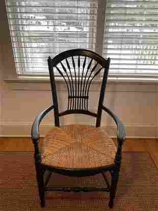 Set 4 French Country Style Rush Seat Chairs