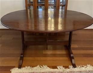French Provincial Tilt Top Trestle Dining Table