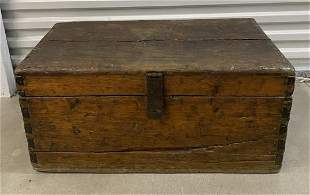 Antique Wooden Trunk / Box With Metal Hardware