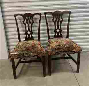 Pair Chippendale Carved Upholstered Dining Chairs