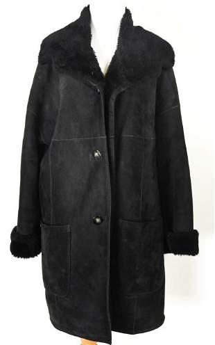 Vintage Searle Men's Black Suede Fur Coat