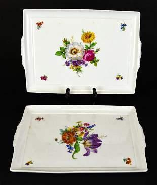 Pair Richard Ginori Italian Porcelain Trays