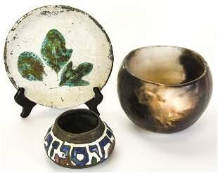 3 Vintage Pottery & Copper / Enamel Judaica Pots