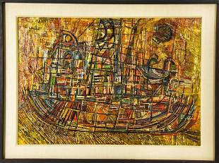 "Seymour Drumlevitch Oil / Panel Abstract ""Tugboat"""