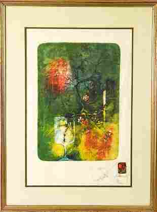 Lebadang Abstract Floral Lithograph on Rice Paper
