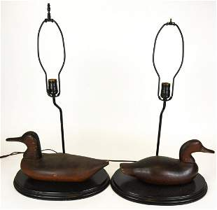 Pair Wood Duck Form Table Lamps