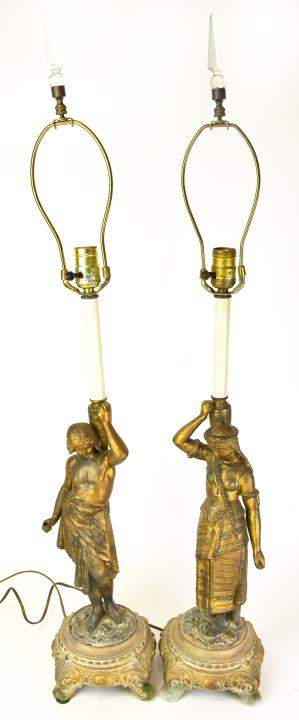 Pair Neoclassical Boy & Girl Figural Table Lamps