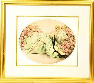 "Louis Icart Signed  ""La Bella Rose"" Color Print"