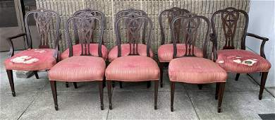 Antique 19th C Hand Carved Sheraton Dining Chairs