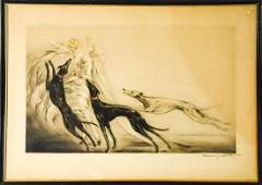 Signed Louis Icart Coursing II Art Deco Etching