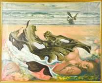 Jean-Pierre Alaux Signed Surrealist Oil / Canvas