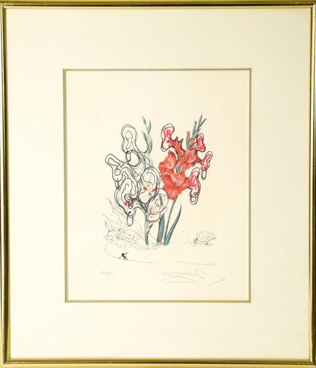 Salvador Dali Signed Color Lithograph Flowers