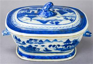 Antique Chinese Canton Blue & White Tureen