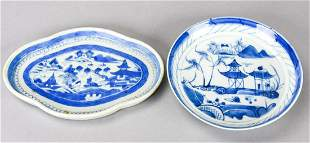 Antique 19th C Chinese Canton Tray & Bowl