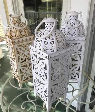 Set of Three Metal Outdoor Lanterns for Candles