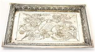 Antique 19th C Silver Plate Tray Dated 1891