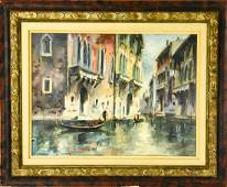Mid Century Framed Oil Painting Venice Canals