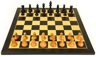 Carved Wood Chess Set With Board