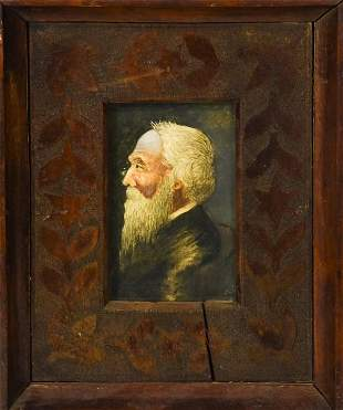 Portrait Painting of Old Man in Antique Frame