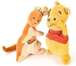Antique Winnie the Pooh, Kanga & Roo Stuffed Dolls