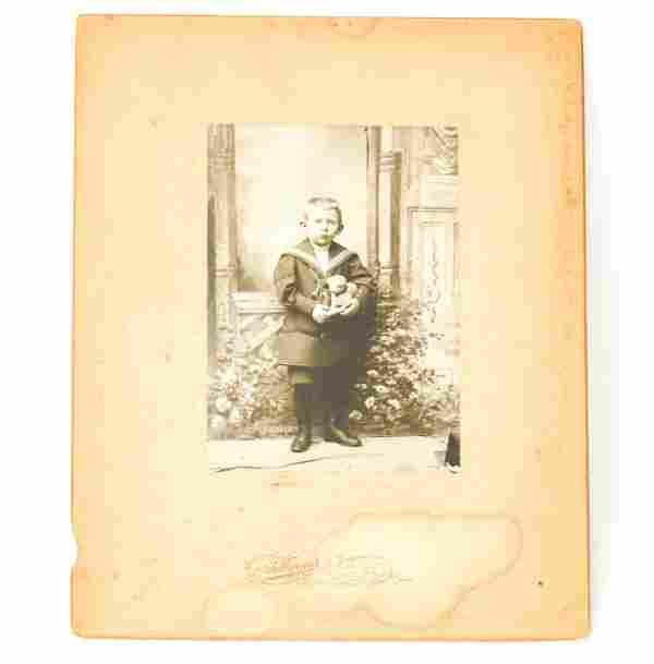 Antique 19th C Photograph of a Boy w Steiff Animal