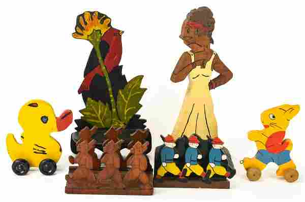 Antique Folk Art Carved & Painted Wooden Objects