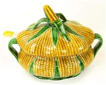 Portuguese Majolica Corn Form Lidded Tureen Ladle