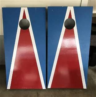 Pair of Painted Wood Corn Hole Yard Games