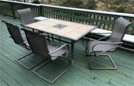 Tile Top Outdoor Dining Room Table w Four Chairs