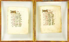 Framed Pair Medieval Illuminated Manuscript Pages