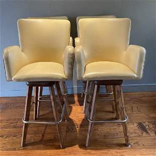 Mid Century Faux Leather Teak Wing Back Bar Stools