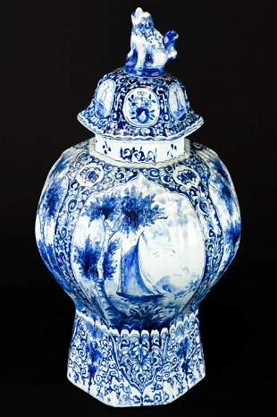 Antique Delft Blue & White Lidded Jar W Dog Finial