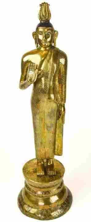 Gilt Bronze Buddha Statue On Stand