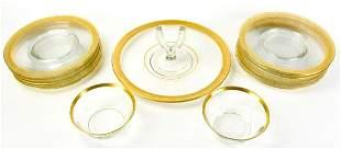 12  Bavarian Glass Gilt Plates, Bowls, Platter
